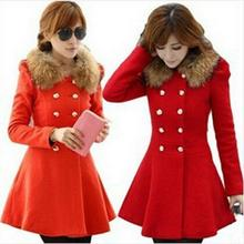 Hot New fashion Autumn and winter wool coat  women's slim medium-long blend wool collar double breasted coat outerwear