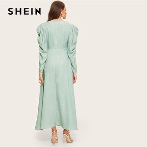 Image 2 - SHEIN zielona komoda dekolt zebrany rękaw asymetryczna hidżab prosta sukienka kobiety V Neck bufiaste rękawy wysoka talia długa linia sukienka