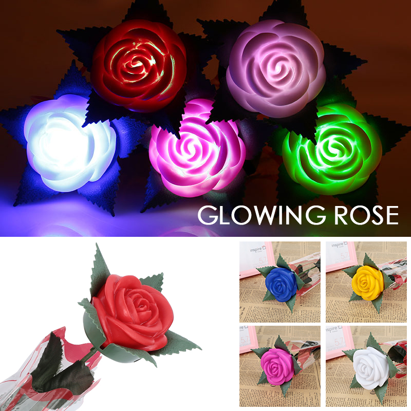 Lowing Rose Valentine'S Day Gift Romantic Plastic Rose Flower Beautiful Mother'S Day Luminous Soap Flower Home Decoration