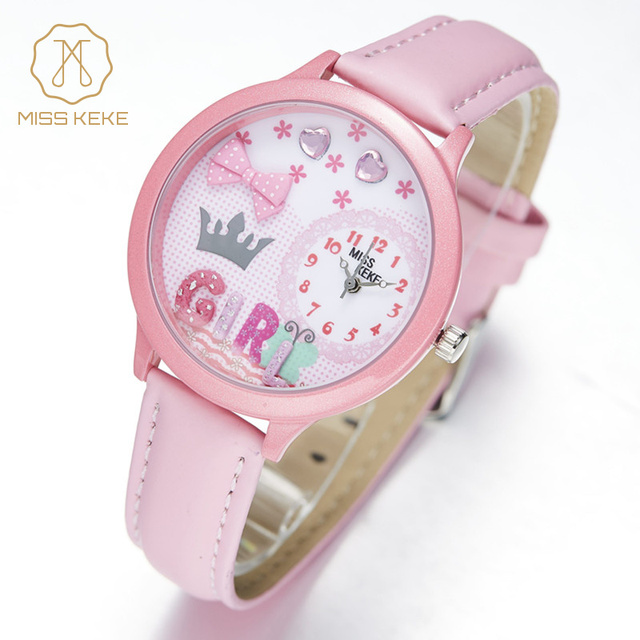 Miss Keke Cute 3D Clay Cartoon Watches Girls Kids Quartz Leather Casual Wristwatch Children Pink Lovely Watch 847 montre enfant