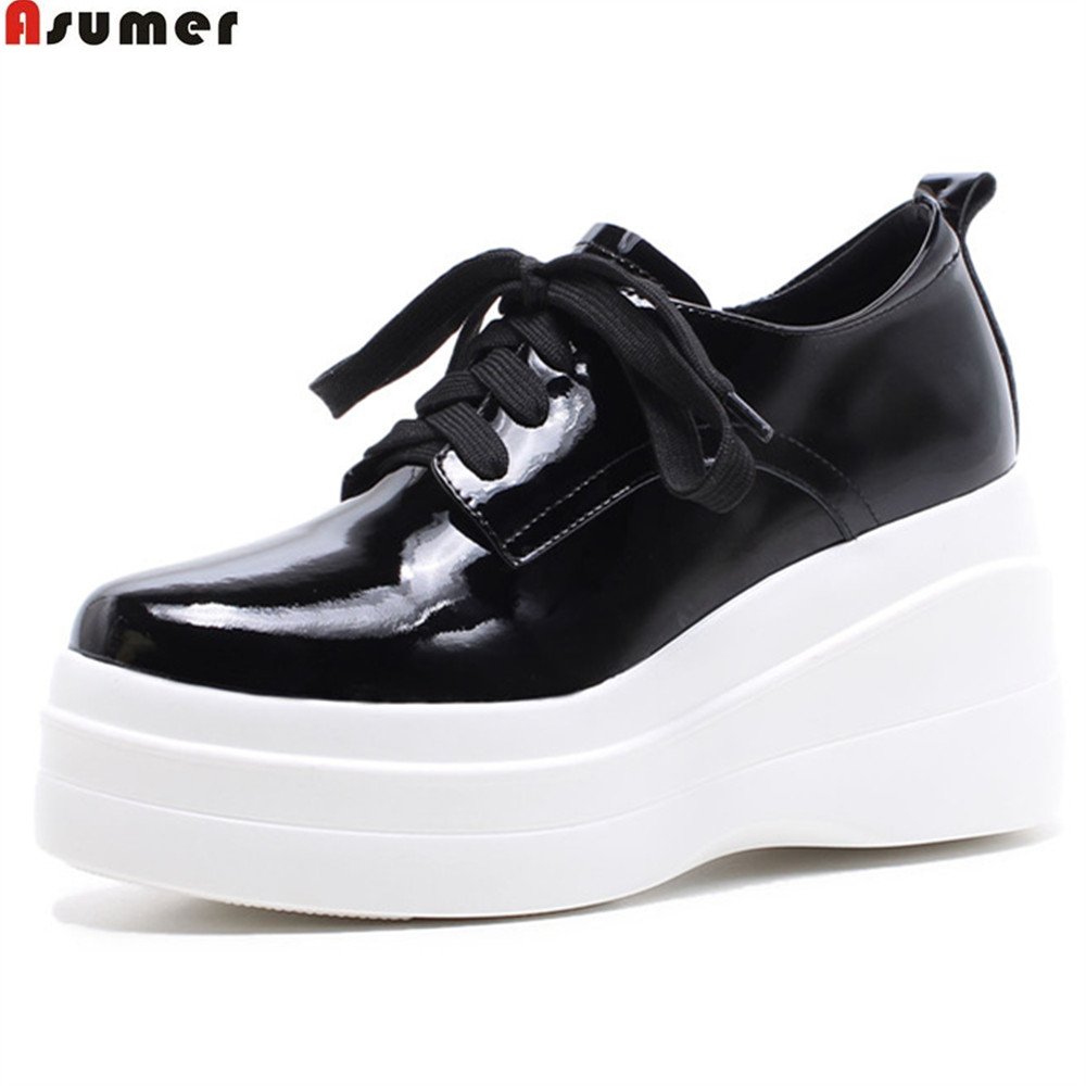 ASUMER black pink brown fashion spring autumn high heels shoes round toe platform wedges shoes women cow patent leather shoes genuine cow leather spring shoes wedges soft outsole womens casual platform shoes high heel round toe handmade shoes for women