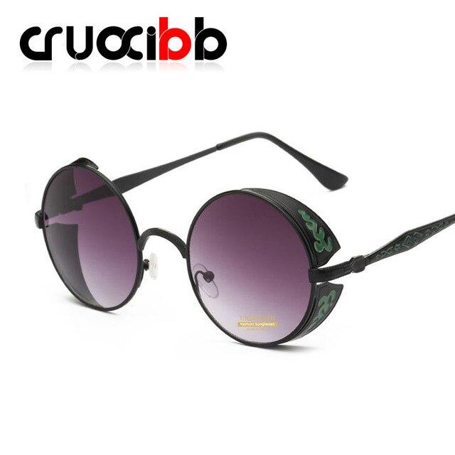 CRUOXIBB Retro Steampunk Sunglasses Men Women Coating Mirror Round Circle  Lens Sun glasses Gothic Eyewear UV400 Free Shipping-in Sunglasses from