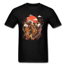 Mount Fuji Sunset Landscape T Shirt Tiger Koi Fish Carp Birds Flower Printed On Tshirts Black Japanese Fashion For Men