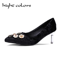 Fashion Pointed Toe Gold Velvet Shallow Mouth Single Shoes Thin Heels Flower Rhinestone Elegant High Heel