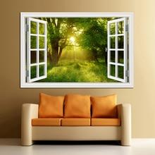 3D окно вид лес настенный стикер с пейзажем стены искусства Съемный Спальня Зеленый Золотой дерево лес обои кухня стикер