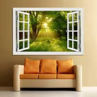 3D Window View Forest Landscape Wall Sticker Removable Bedroom Green Golden Tree Forest Wallpaper kitchen Sticker Wall art