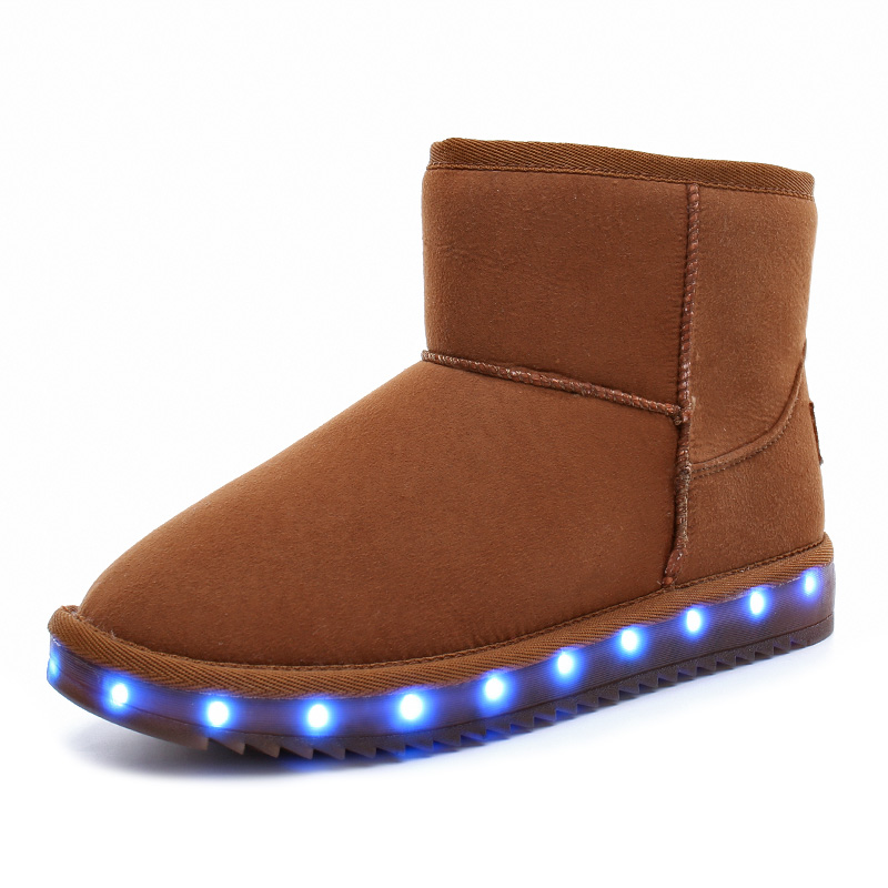 Kids Shoes Glowing Sneakers Solid  LED Lighted Girls Boys Snow Boots Winter Warm Cotton Children Shoes Genuine Leather Boots
