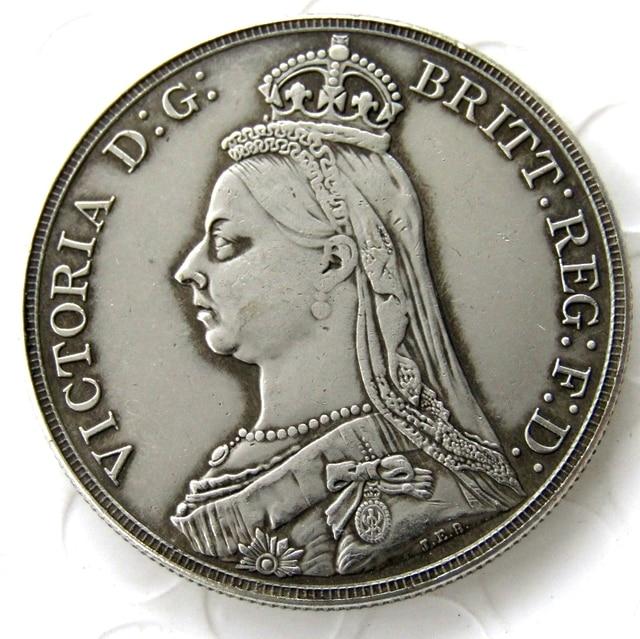 England Uk 1888 Silber Eine Krone Königin Victoria Kopie Münze In