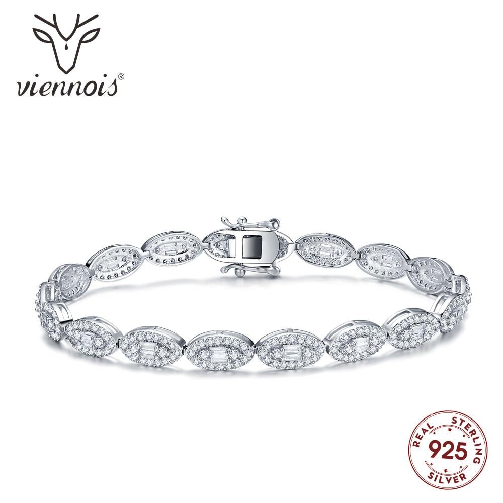 Viennois Bangle Bracelet Jewelry Rhinestone Wedding 925-Silver Women Fashion