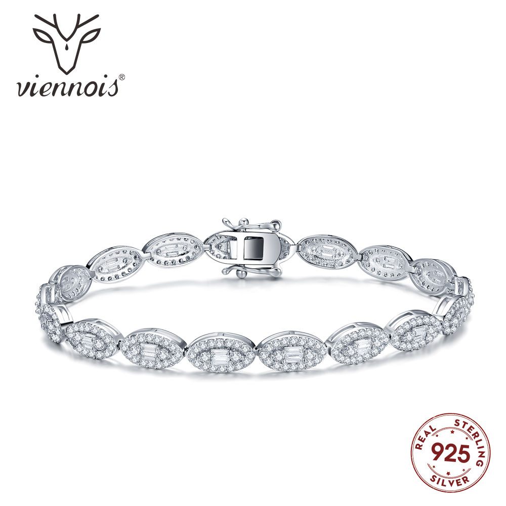 Viennois Fashion 925 Silver Rhinestone Bracelet Bangle For women Jewelry Wedding Party Bracelet in Bangles from Jewelry Accessories