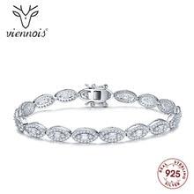 Viennois Fashion 925 Silver Rhinestone Bracelet & Bangle For women Jewelry Wedding Party Bracelet u 001 viennois fashion women elegant silver bracelet