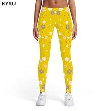 KYKU Brand Flower Leggings Women Yellow Sport Harajuku Elastic Sexy 3d Print  Sexy Womens Leggings Pants Casual Bodybuilding