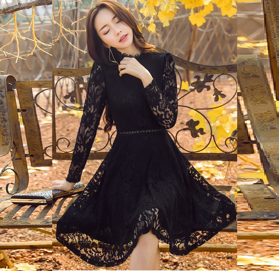2017Fashion Ladies plus size elegant pinched waist Lace ball gown Dress cultivating party Dress stand collar cute dress 4XL18023
