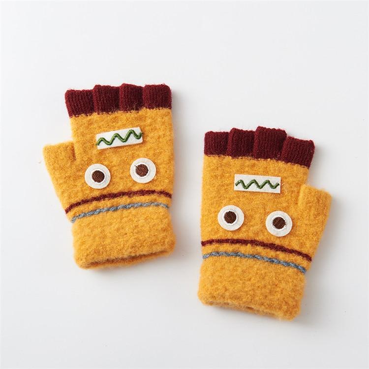 Варежки для детей подвергается Прихватки для мангала зима теплая половина палец Прихватки для мангала легко писать руки теплые Прихватки для мангала c6131 - Цвет: yellow