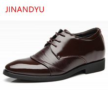 Genuine Leather Shoes Men Formal Elevator Shoes for Men Leather Dress Shoes Pointed Toe Height Increasing 6 CM Mens Wedding Shoe fashion new pointed toe men dress shoes hidden height increasing 6cm classic elevator wedding business formal shoes men loafers
