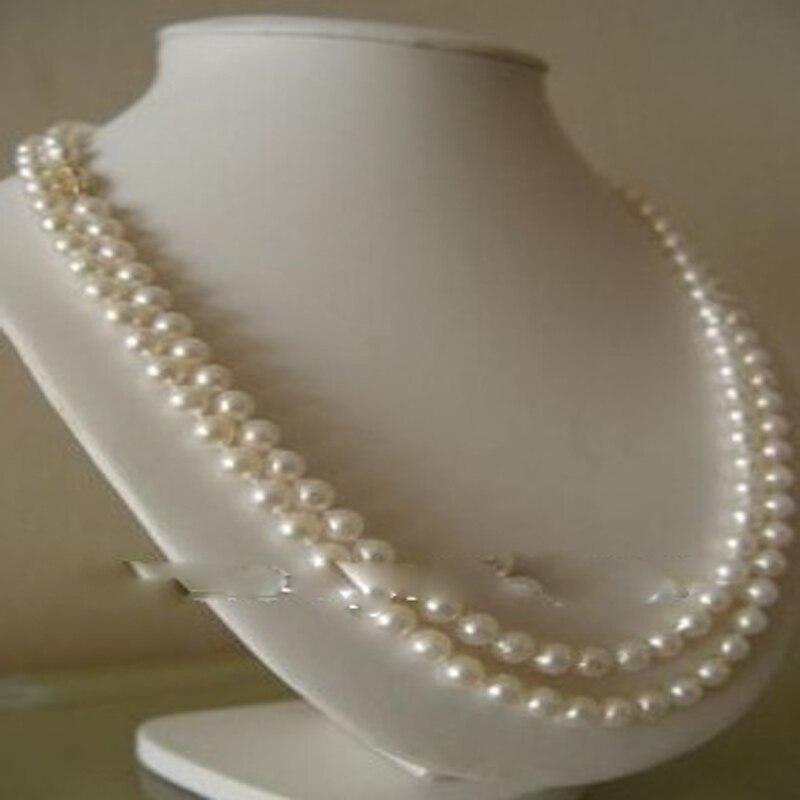 Очаровательный 8 мм белый натуральный жемчуг ожерелье 36 дюймов#1661