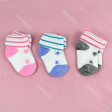 1 Pair Baby Kids Children Girl Infant Toddler Anti-slip Shoes Cotton Socks 0-6M(China)