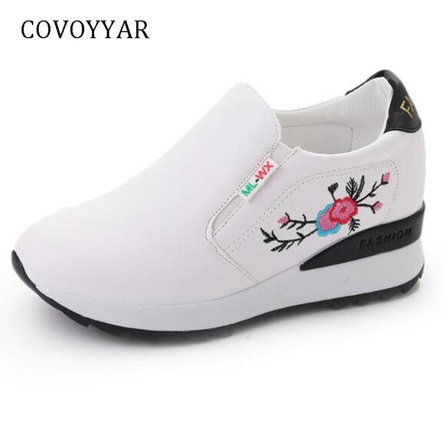COVOYYAR 2019 Chic Flowers Casual Shoes Spring Hidden Wedges Women Sneakers Embroidered Slip On Women Shoes for Travel WSN758