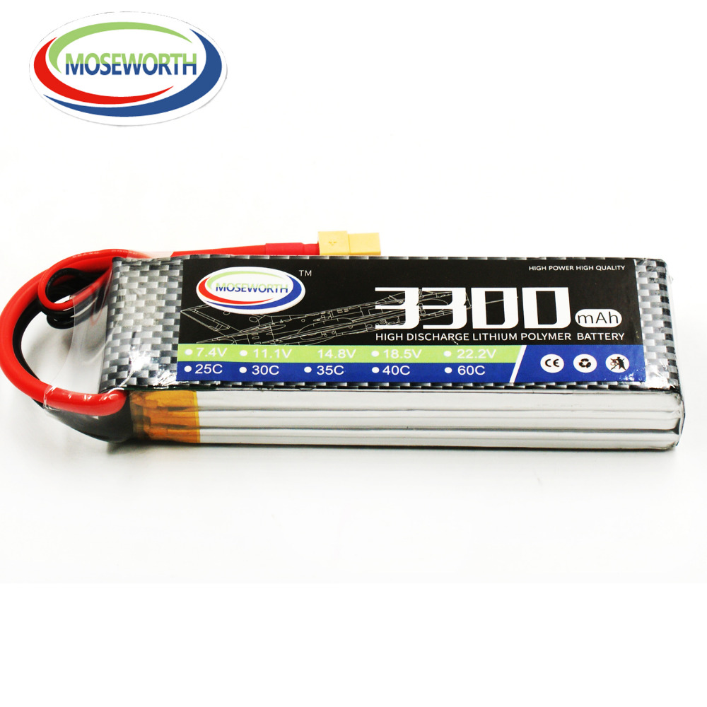 MOSEWORTH RC LiPo Batterie 3 S 11.1 V 3300 mah 60C pour Avion Quadrirotor Akku batteria Drone