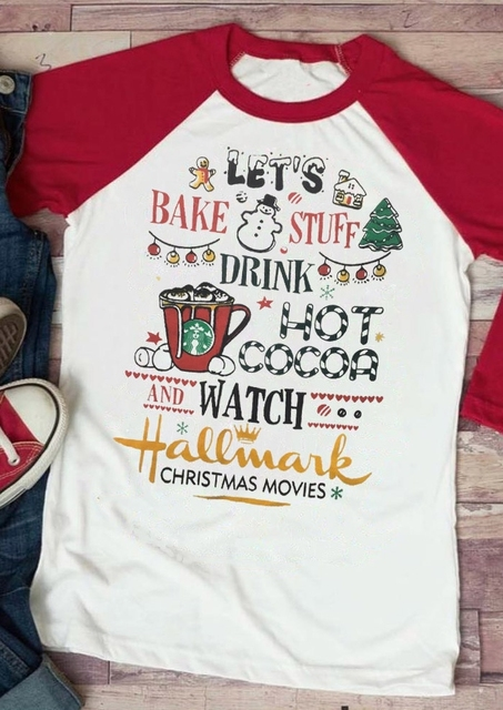 e024d3c6fe8f Women's 3/4 Sleeve T Shirt Drink Hot Cocoa And Watch Hallmark Christmas  Movies Baseball