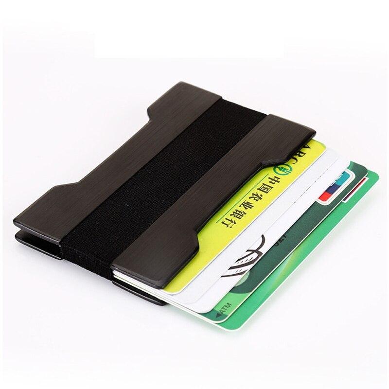 Us 4 17 61 Off Slim Aluminium Rfid Id Visitenkartenhalter Brieftasche Männer Frauen Doppel Metall Kreditkartenetui Id Karte Tasche Automatische