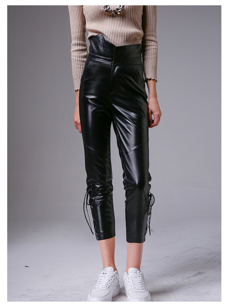 See Orange Spring Leather Pants Womens Fashion Soft Sheepskin Genuine Leather Legging Pants High Waist Zipper Black Pencil Pant