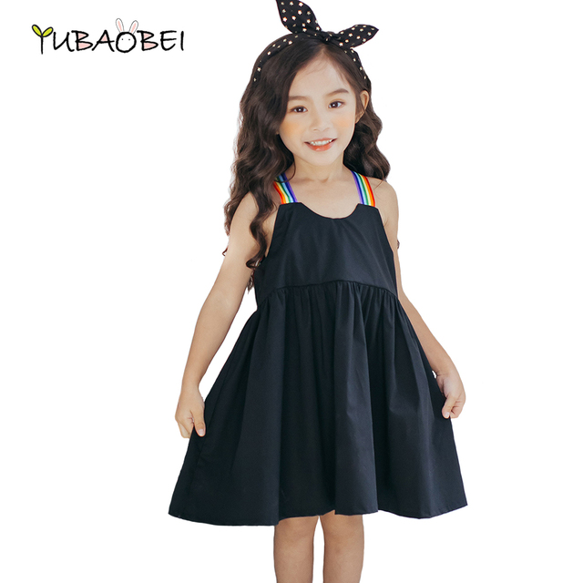 4917c597f8389 2017 New Arrival Children Clothing Girls Rainbow Strap Simply Black Cotton  Dress Lovely Casual Kids Summer Dress