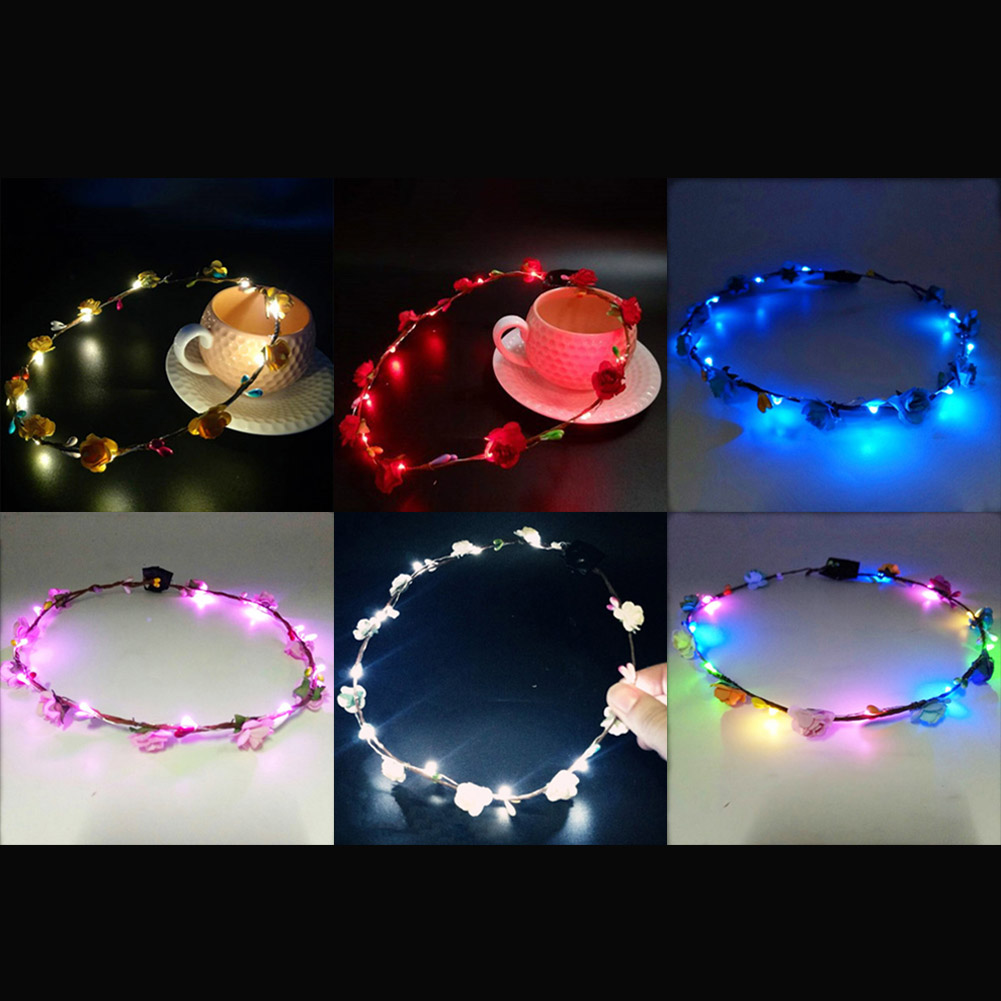 Led Bride Women Flower Crown Hair Band Wedding Floral Headband Garland Festival Ribbon Bow Flower Headdress And Digestion Helping