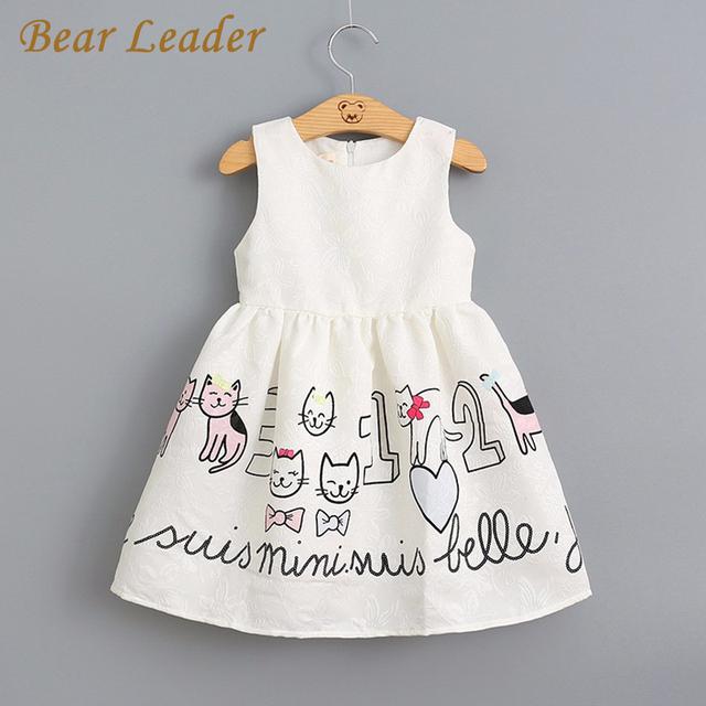Líder urso Meninas Vestido de Verão 2016 Nova Moda Sem Mangas Estilo Gatos Dos Desenhos Animados Padrão de Vestido Branco Vestido de Princesa para Crianças Vestidos 3-7A