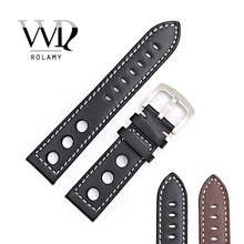 Rolamy 22mm Newest Hot Sell Popular Real Calf Leather Handmade Black Brown with White Stitches Wrist Watch Band Strap Clasp