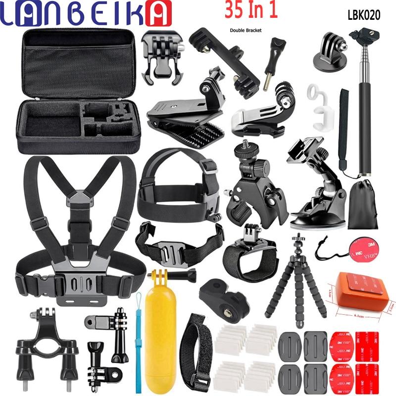 LANBEIKA 35 en 1 accessoire Double support pont boîte de transport tête sangle de poitrine adaptateur de montage pour Gopro 7 6 5 4 3 + SJCAM SJ4000 SJ6