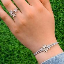 GODKI Arábia Saudita de Luxo Na Moda Pulseira Anel Conjunto de Jóias Para As Mulheres de Casamento Cubic Zircon CZ Cristal aretes de mujer modernos 2019