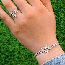 GODKI Luxe Trendy Saudi Arabië Bangle Ring Sieraden Set Voor Vrouwen Wedding Kubieke Zirkoon Crystal CZ aretes de mujer modernos 2019