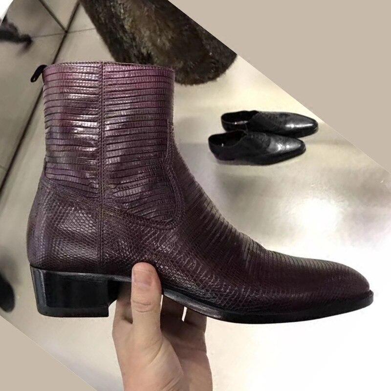 2018Handmade New Lizard Grain Leather Personality Chelsea Boots Famous brand Male Pointed British Wind Martin Boots lizard сандали raft junior 23 28 28 sponge grey
