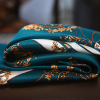 Lady Blinger Dark Green Printed High Quality Carriage Silk Scarf 100 Real Silk Wraps Office Lady