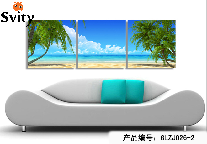 Modern Wall Art Home Decoration Printed Oil Painting Pictures Canvas Prints 3 Pieces Coconut Palm Beach Scenery