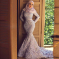 Long Sleeve Evening Dress Lace Mermaid Islamic Dress with Hijab Turkey Dubai Kaftan Muslim Robe De Soriee