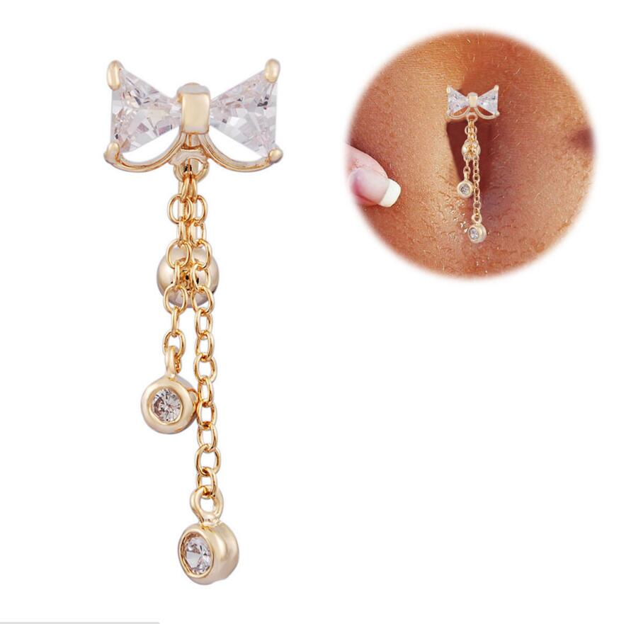 2016 New Reverse Belly Button Ring Dangle Bowknot Clear Cz -9428