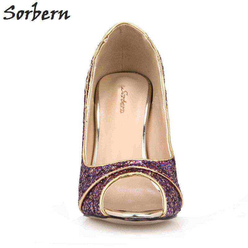 púrpura Tacones Sorbern Orsay Metal Alto custom Mujeres Toe Bombas Zapatos Tacón Peep De Señoras Negro oro 2018 Fiesta Color Las Noche Oro Nuevo B4qBxvO