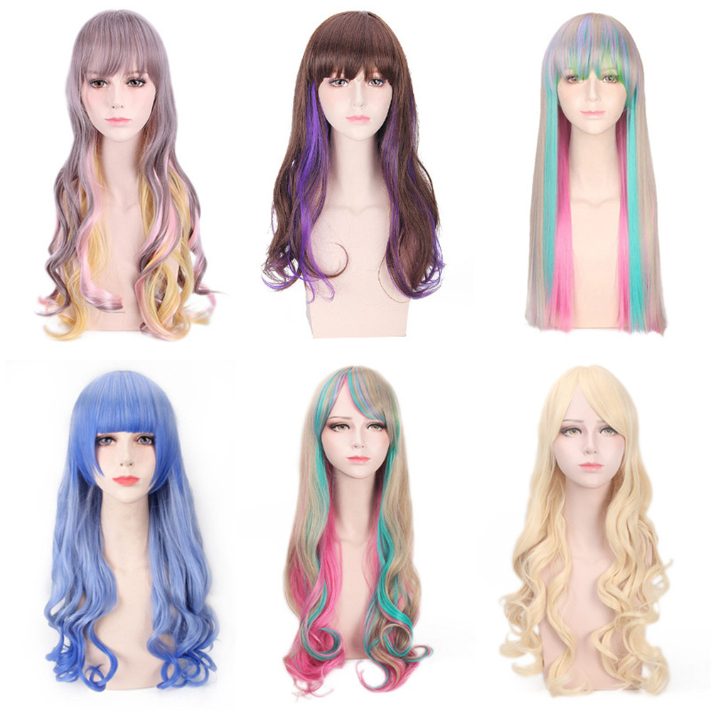 Cosplay Lolita Curly Adult Halloween Girls Synthetic Women Wig Party-Wig Hair-Color Long