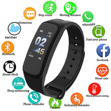 C1Plus Smart Armband Band Slaap Activiteit Fitness Tracker Wekker Stappenteller Polsband Voor IOS Android pk Fitbits(China)