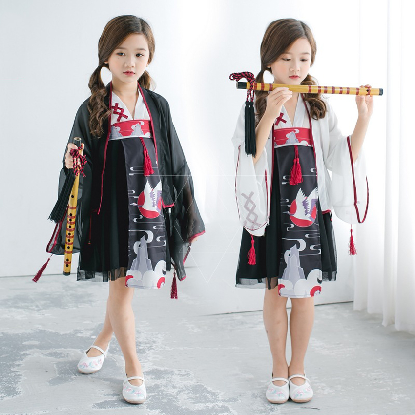 Japanese Traditional Cosplay Costumes Girl Kimono 3PCs Dresses For Kids Girls Bathrobe Yukata Lace Children Crane Kimono