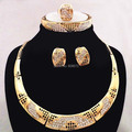 Top Quality Wedding Gold Plated Heavy Jewelry Set Woman Party Necklace Sets Necklace Earrings Bangle Ring Luxury Bridal Jewelry