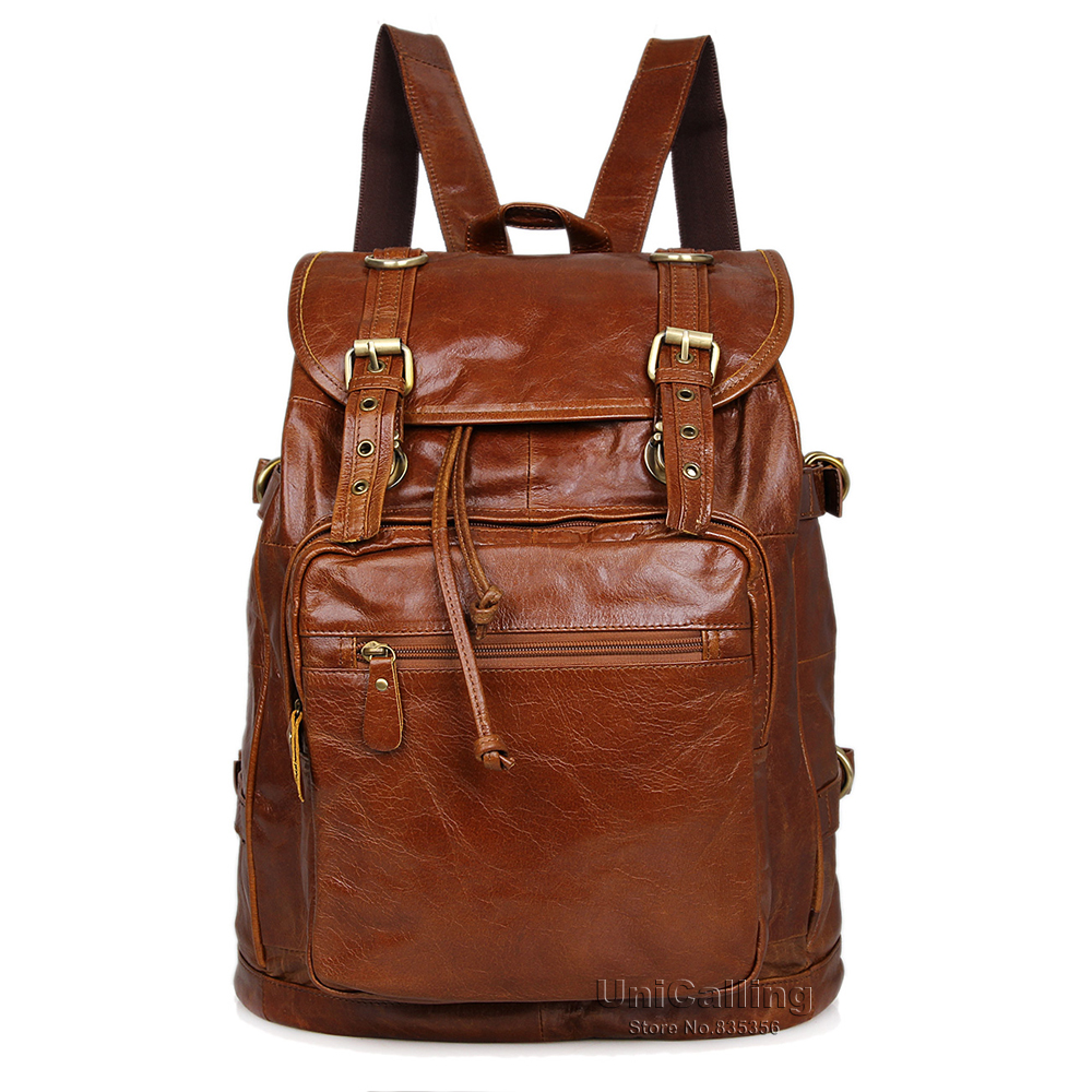 Unisex men/women leather backpack leather fashion vintage real cow leather backpack leisure travel genuine leather backpack bag