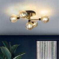 Скандинавский светодиодный потолочный светильник, 5 стеклянных шаров, светодиодная лампочка, освещение в помещении, винтажная спальня, сто