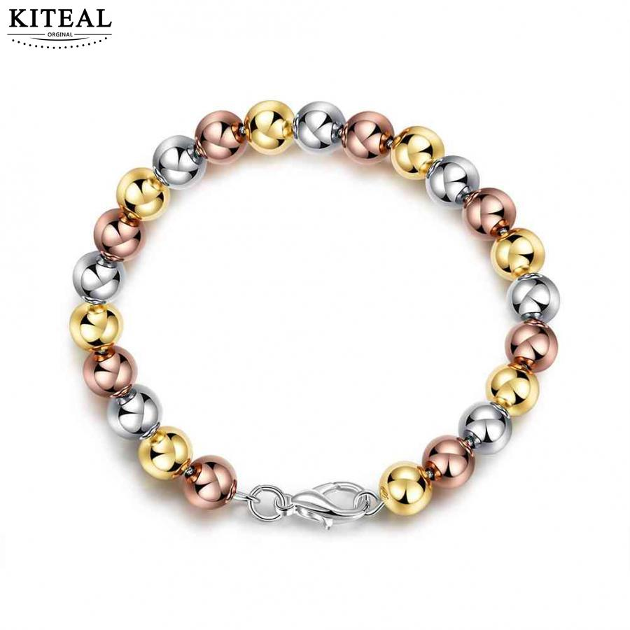 Wholesale jewerly 2017 new silver plated pulseras silver/gold/rose golden color round beads bracelet pulsera sport for men