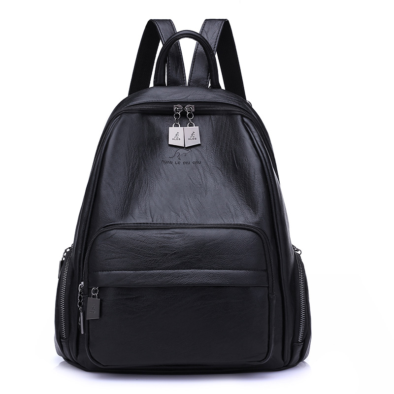 Korean Women Backpacks Travel Package Black Soft PU Leather Shoulder Bag Schoolbags For Teenage Girls Female Leisure Bag Mochila 2016 fashion women backpacks rivet soft sheepskin leather bags shoulder for teenage girls female travel bag free gift