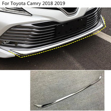 car body bumper engine ABS Chrome trim Front bottom Grid Grill Grille edge panel 1pcs For Toyota New Camry XV70 2017 2018 2019