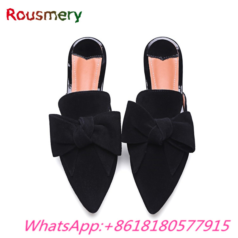 Cool Black Chunky Low Heels Woman Slippers Spring Autumn Butterfly-knot Zapatos Mujer Tacon Solid Pointed Toe Tenis Feminino