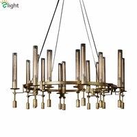 Retro Industrial Round Metal Led Chandelier Lustre American RH Loft Pendant Chandelier E14 Edison Bulb Suspend Lamp For Foyer
